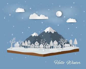 White village on soft blue background