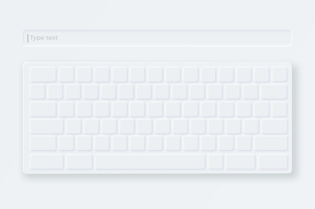 White virtual keyboard. light keyboard in neumorphic style.