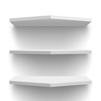 White wall shelves.  illustration.