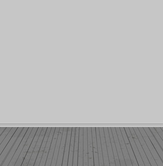 The white walls and old wooden floor. vector illustration