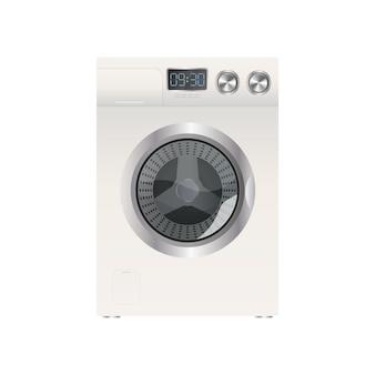 White washing machine isolated on a white background. realistic vector washing machine.