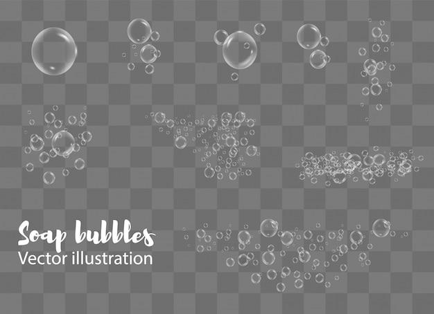 Белые пузырьки воды с отражением на прозрачной