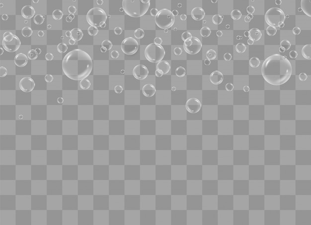 White water bubbles with reflection set on transparent background