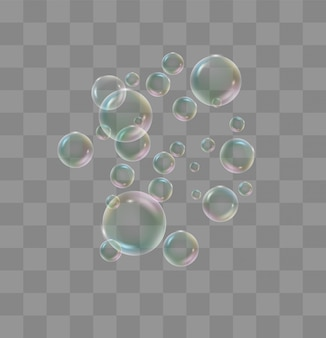 White water bubbles with reflection set on transparent