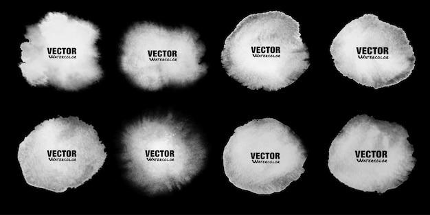 白い水彩ステインセット。アクワレルライトグレースポット。円形の水彩画の染み。