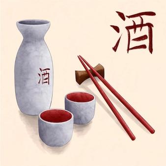 Белая акварель японское саке и палочки для еды