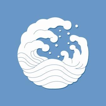 Белая волна на синем фоне простые плоские векторные иллюстрации