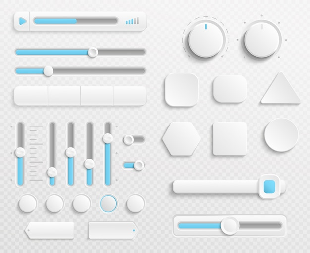 White web buttons and ui sliders set isolated on transparent background