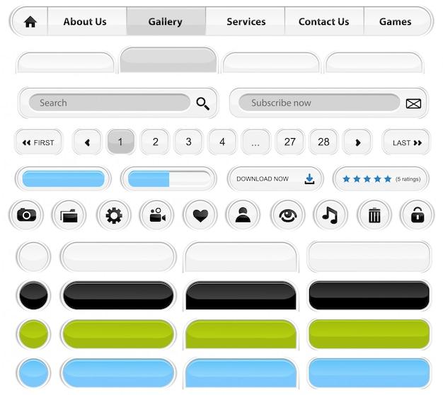 White web elements set