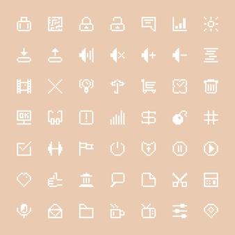 ピクセルアートに設定された白いウェブアイコン。ショッピングトロリー、サムズアップ、ui、ビデオゲームファイル、seo、ボリュームの概念。スタイリッシュな背景に分離。ピクセルアートスタイルのトレンディなモダンなロゴデザインベクトルイラスト