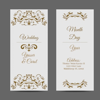 White wedding card with golden elements