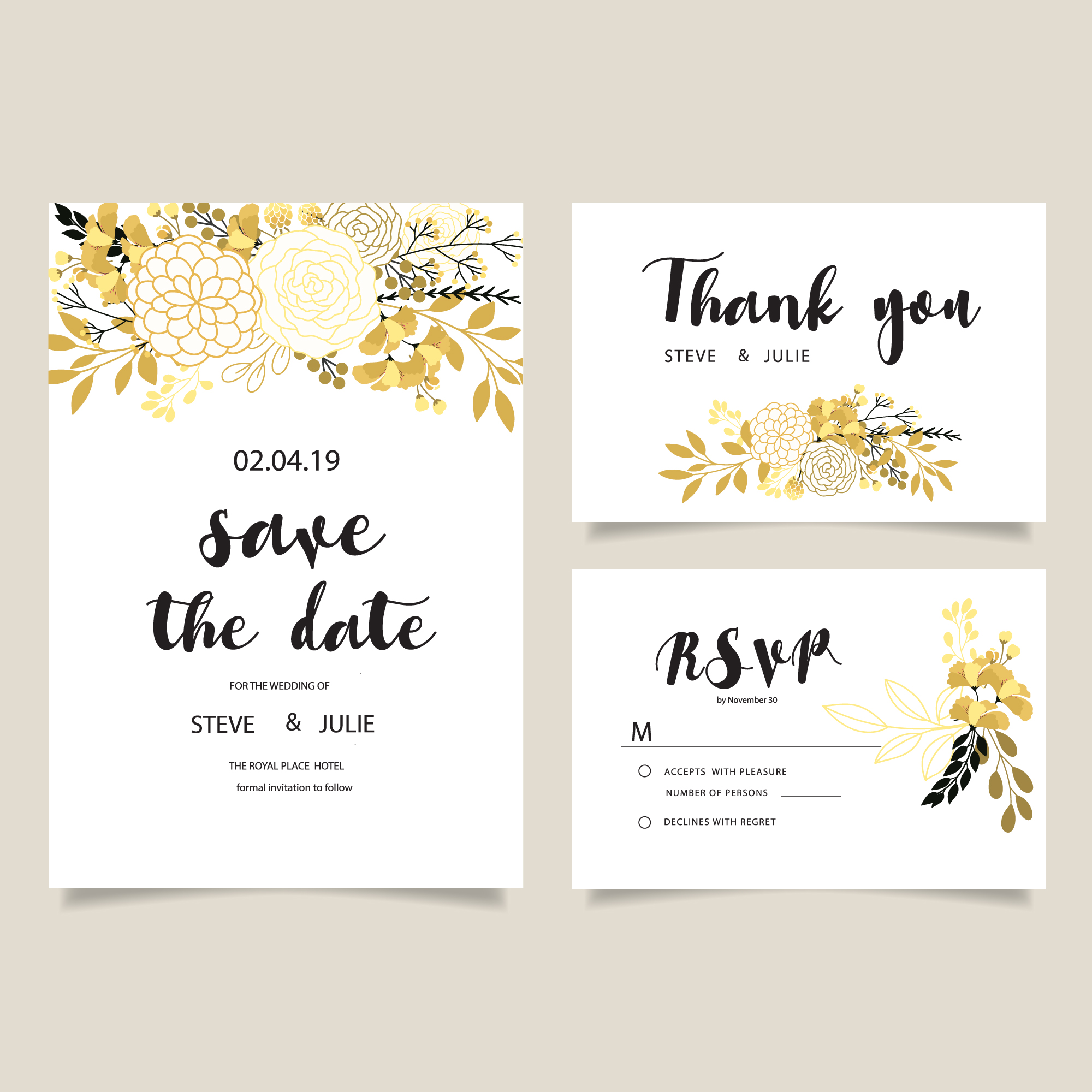 White wedding card with golden flowers collection