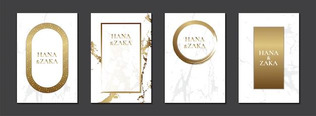 하얀 결혼식 초대 카드 대리석 질감