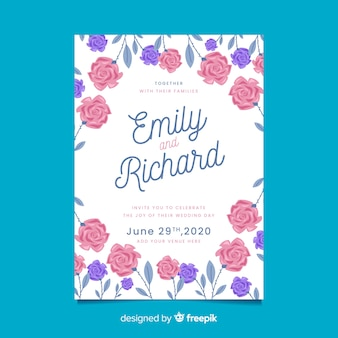 White wedding invitation with floral frame