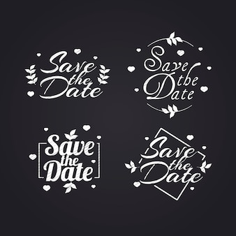 White wedding lettering collection