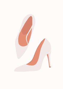 白い結婚式の靴のイラスト