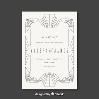 White wedding template in art deco style