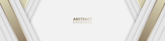 White wide luxury abstract background with golden lines and shadows. Premium Vector
