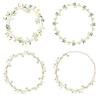 White wild flowers wreath collection