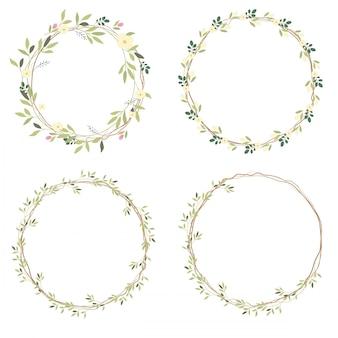 白い野生の花の花輪コレクション