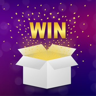 White win box on light background. winner poster. surprise present.   illustration.