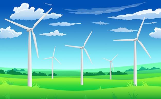 White wind generators mills, wind turbine on green field, wind energy eco concept