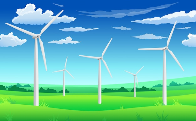 흰 풍력 발전기 공장, 그린 필드, 풍력 에너지 에코 개념에 풍력 터빈