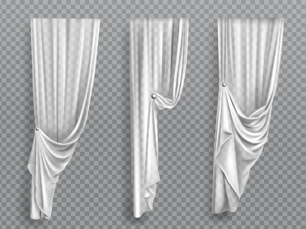 White window curtains on transparent background