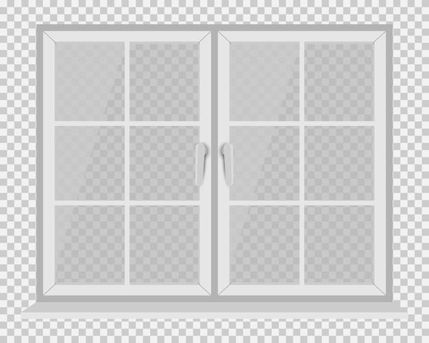 Белая оконная рама на прозрачном