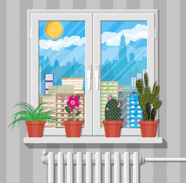 벽, 도시 스카이 라인에 꽃과 흰색 창