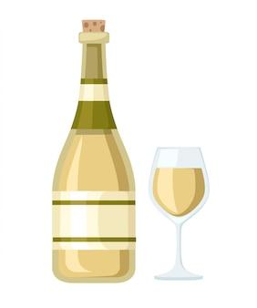 Бутылка белого вина и стеклянная чашка. бутылка с этикеткой. иллюстрация на белом фоне