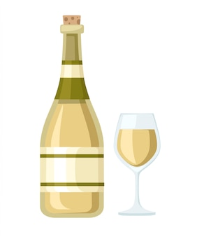 White wine bottle and glass cup. bottle with label.   illustration  on white background