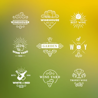 White wine logo  on green