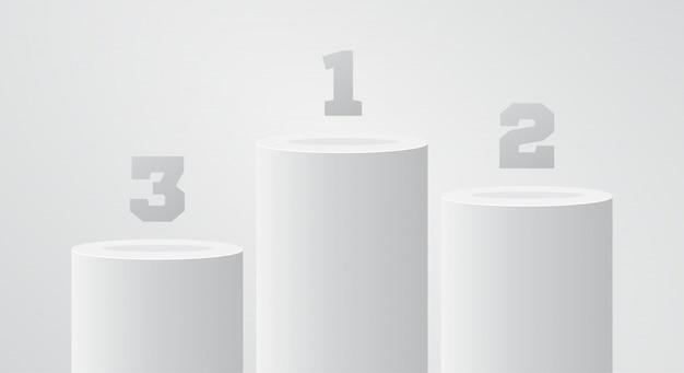 白い勝者台座。丸柱スタンドシーン。表彰台またはプラットフォームに勝ちます。そもそもスタンド。