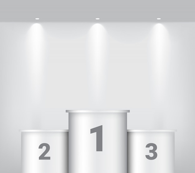 White winner podium with spotlight and shadow or show product background. pedestal design illustration