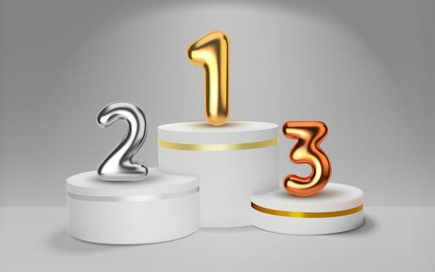 白の勝者は3dレンダリングで表彰台を獲得しました。金色の風船の形で番号を付けます。スポーツ大会の優勝者の表彰。丸いリアルな台座。