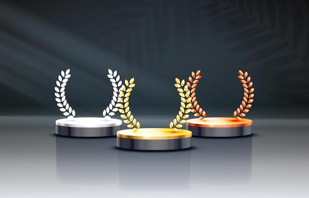 ビジネスコンセプトの表彰台セットオブジェクトベクトルの白人受賞者表彰台
