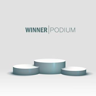 白い勝者の表彰台。ペデスタル。空の。 Premiumベクター