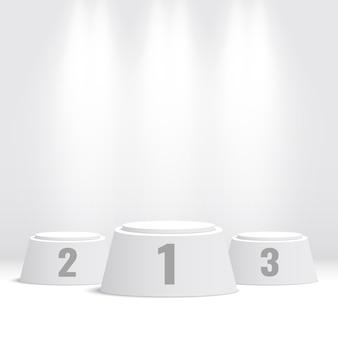 白い勝者の表彰台。ペデスタル。図。