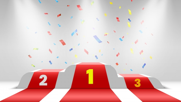 Белый подиум победителей с красной ковровой дорожкой и конфетти. сцена для церемонии награждения. постамент с точечными светильниками. иллюстрации.