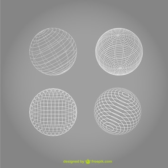White wireframe spheres