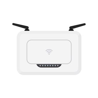검은색 안테나가 있는 흰색 무선 wi-fi 라우터입니다. 간단한 평면 벡터 일러스트 레이 션. 흰색 배경에 고립