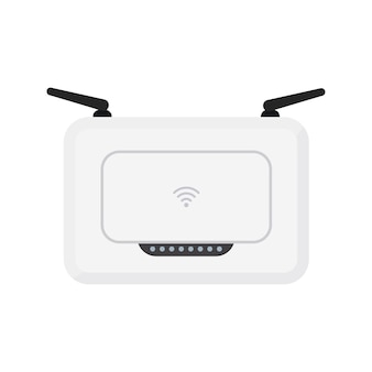 White wireless wi-fi router with black antennae. simple flat vector illustration. isolated on white background