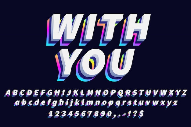 White with gradient modern alphabet text effect