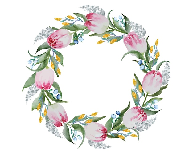 赤いチューリップの花の花輪と白