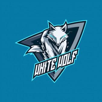 Белый волк киберспорт и игровой логотип Premium векторы