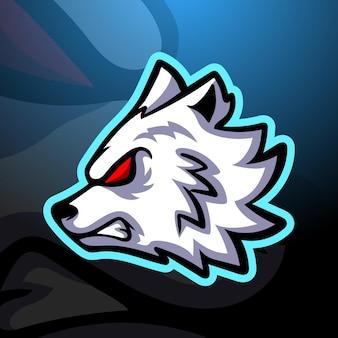 白いオオカミのマスコットeスポーツイラスト