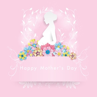 White woman paper under colorful flower . happy mother's day illustration