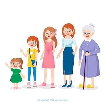 다른 연령대의 백인 여성 컬렉션