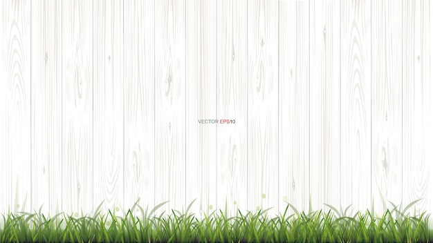 White wood texture background with green grass